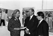18/11/1964<br /> 11/23/1964<br /> 18 November 1964<br /> <br /> Mr. Jack Lynch Minister for industry and Commerce who wpend and exhibition of paintings by the Cork Artist, Mortimer O'Shea (right) chatting why the Artist and Mrs Ann Proud Director of the Gallery at Molesworth Gallery, Dublin.