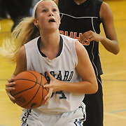 Hoggard's Emma Haywood looks to shoot over New Hanover's Amani Muhhamad Friday December 12, 2014 at Hoggard High School in Wilmington, N.C. (Jason A. Frizzelle)