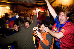 Slovenian fans of Barcelona celebrating when watching the UEFA Champions League final match for the season 2008/2009 between FC Barcelona and Manchester United, on May 27, 2009, in Lepa zoga, Ljubljana, Slovenia. Barcelona won 2:0. (Photo by Vid Ponikvar / Sportida)