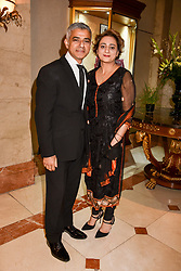 Mayor of London Sadiq Khan and his wife at The Asian Awards, The Hilton Park Lane, London England. 5 May 2017.<br /> Photo by Dominic O'Neill/SilverHub 0203 174 1069 sales@silverhubmedia.com