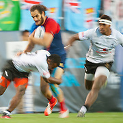 Jonathan Laugel is tackled by Samisoni Viriviri of Fiji in the  play for the USA Sevens leg of the 2015 HSBC Sevens World Series  at Sam Boyd Stadium in Las Vegas, Nevada. Friday February 13, 2015.<br /> <br /> Jack Megaw for USA Sevens<br /> <br /> COPYRIGHT &copy; JACK MEGAW, 2015. <br /> <br /> www.jackmegaw.com