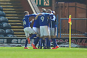 GOAL Ian Henderson celebrates after opening the scoring 1-0  during the EFL Sky Bet League 1 match between Rochdale and Shrewsbury Town at Spotland, Rochdale, England on 30 December 2016. Photo by Daniel Youngs.