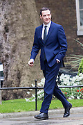 Photographer: Rick Findler<br /> <br /> London UK. 08.05.15 Reappointed Chancellor George Osborne walks into 10 Downing Street to meet with the Prime Minister David Cameron. Cameron appeared triumphant today as he was the doctor in becoming the new Prime Minster in the 2015 general election.