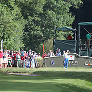 Sergio Garcia, Spain, tees off on the 18th during the final round of the Travelers Championship at the TPC River Highlands, Cromwell, Connecticut, USA. 22nd June 2014. Photo Tim Clayton