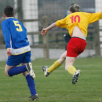 Avenue's Cian Burke shoots on goal to score for Avenue United.<br />Photograph by Flann Howard