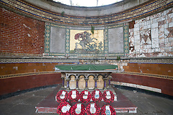 © Licensed to London News Pictures. 23/10/2014. Greenwich Council has announced that a memorial for the murdered solder Lee Rigby will be placed in the ruins of St George's Garrison Church close to Woolwich Barracks. The former garrison church was bombed during the war, leaving it in ruins, and is currently undergoing lottery-funded preservation work. The local MP Nick Raynsford had opposed the idea of a memorial in the town. Full statement can be found here: http://www.royalgreenwich.gov.uk/news/article/376/royal_borough_statement_on_a_proposal_for_a_memorial_in_woolwich FILE PICTURE of the ruins St George's Garrison Church dated 20th September 2014. Credit : Rob Powell/LNP