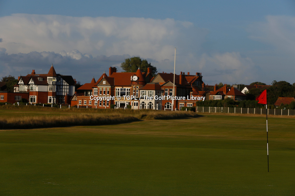 3rd par 4 and clubhouse Royal Liverpool Golf Club, Hoylake,Wirral,England, during summer 2013,venue for the 2014 Open Championship.