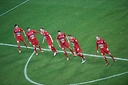 Podbeskidzie's players prepare to the free kick during T-Mobile ExtraLeague soccer match between Legia Warsaw and Podbeskidzie Bielsko Biala in Warsaw, Poland.<br /> <br /> Poland, Warsaw, March 01, 2015<br /> <br /> Picture also available in RAW (NEF) or TIFF format on special request.<br /> <br /> For editorial use only. Any commercial or promotional use requires permission.<br /> <br /> Mandatory credit:<br /> Photo by © Adam Nurkiewicz / Mediasport