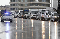 © Licensed to London News Pictures. 12/11/2018. London, UK. Traffic remains backed up on Vauxhall Bridge after police closed off Vauxhall junction in central London due to a suspicious vehicle. Photo credit: Peter Macdiarmid/LNP