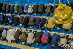 June 12, 2017 - Sao Paulo, Brazil - Muslims participate in prayer that precedes the breaking of the fast during Ramadan, the sacred month of Islam, in the Mesquita Brasil, in Sao Paulo. In this period, the faithful can not eat, drink or have sex between sunrise and sunset.  (Credit Image: © Cris Faga via ZUMA Wire)