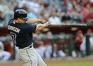 May 14, 2013; Phoenix, AZ, USA; Atlanta Braves outfielder Reed Johnson (7) doubles to to deep right against the Arizona Diamondbacks in the first inning at Chase Field. Mandatory Credit: Jennifer Stewart-USA TODAY Sports