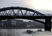 Putney, GREAT BRITAIN,  left, crew Personality and crew Looks, race towards Barnes Rail Bridge, during the 2008 Varsity/Cambridge University Trial Eights, raced over the championship course. Putney to Mortlake, Tue. 16.12.2008. [Mandatory Credit, Peter Spurrier/Intersport-images..Crew Personality. Bow Dan SHAUGHNESSY, 2. Shane O'MARA, 3. John CLAY, 4. Ryan MONAGHAN, 5. Fred GILL, 6. Deaglan McEACHERN, 7. Hardy CUTBASCH, stroke,. Rob WEITEMAYER and cox Rebecca DOWBIGGIN...Crew Looks; Bow James STRAWSON. 2. Joel JENNINGS, 3. Code STERNAL, 4 Peter MARSLAND, 5. George NASH, 6. Henry PELLY, 7. Tom RANSLEY, stroke Silas STAFFORD and Cox Helen HODGES. Varsity Boat Race, Rowing Course: River Thames, Championship course, Putney to Mortlake 4.25 Miles,