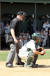 14 April 2013:  Home Plate umpire Steve Jones settles in behind Titan catcher A.J. Nathan during an NCAA division 3 College Conference of Illinois and Wisconsin (CCIW) Baseball game between the Elmhurst Bluejays and the Illinois Wesleyan Titans in Jack Horenberger Stadium, Bloomington IL