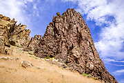 Interesting shapes and textures in this tuff and basalt rock formation at Smith Rock State Park, Oregon