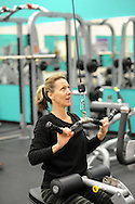 Diane Jenet of Warrington, Pennsylvania pulls on a hoist machine after the grand opening of the Warminster YMCA Tuesday, January 31, 2017 in Warminster. Pennsylvania. (Photo by William Thomas Cain)