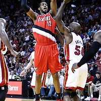 08 March 2011: Portland Trail Blazers power forward LaMarcus Aldridge (12) takes a jumpshot during the Portland Trail Blazers 105-96 victory over the Miami Heat at the AmericanAirlines Arena, Miami, Florida, USA.