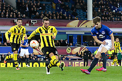 Everton's Luke Garbutt fires a shot towards goal  - Photo mandatory by-line: Matt McNulty/JMP - Mobile: 07966 386802 - 26/02/2015 - SPORT - Football - Liverpool - Goodison Park - Everton v Young Boys - UEFA EUROPA LEAGUE ROUND OF 32 SECOND LEG