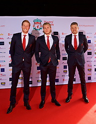 LIVERPOOL, ENGLAND - Thursday, May 10, 2018: Liverpool's goalkeepers Adam Bogdan, Loris Karius and Simon Mignolet arrive on the red carpet for the Liverpool FC Players' Awards 2018 at Anfield. (Pic by David Rawcliffe/Propaganda)
