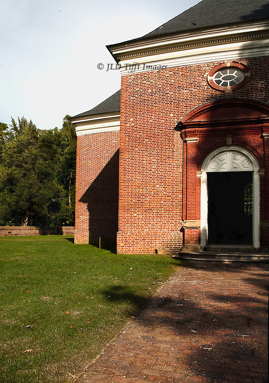 "Perfect American Georgian brick church, funded by Robert ""King"" Carter in 1735.  Central plan, carved walnut pews and pulpit.  Carfully preserved and devotedly maintained by a private organization."