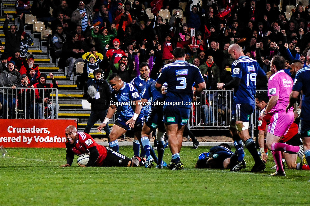 Nemani Nadolo of the Crusaders scores a try in the Super rugby match,  Crusaders v The Blues, at AMI Stadium, Christchurch, on the 5 July 2014 . Photo:John Davidson/www.photosport.co.nz