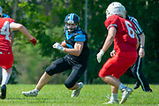 Josh Allen (#32) during the BAFA Northern Division match between Edinburgh Wolves and Sheffield Giants at Meggetland Sports Complex, Edinburgh, Scotland on 1 July 2018. Picture by Malcolm Mackenzie.