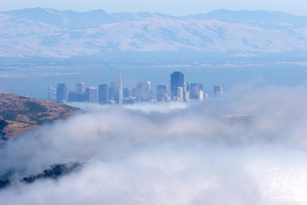 San Francisco Downtown City Skyline Fog, Mount Tamalpais State Park, California