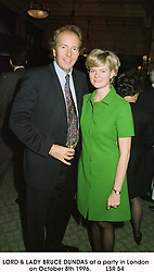 LORD & LADY BRUCE DUNDAS at a party in London on October 8th 1996.LSR 54