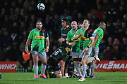 Harlequins scrum half Charlie Mulchrone (21) gets a pass away during the Gallagher Premiership Rugby match between Northampton Saints and Harlequins at Franklins Gardens, Northampton, United Kingdom on 1 November 2019.