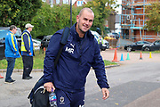 AFC Wimbledon coach Mark Robinson arriving for the game during the EFL Sky Bet League 1 match between AFC Wimbledon and Portsmouth at the Cherry Red Records Stadium, Kingston, England on 19 October 2019.
