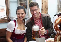 05.10.2014, Theresienwiese, München, GER, 1. FBL, FC Bayern Muenchen am Oktoberfest, im Bild Robert Lewandowski (R) of FC Bayern Muenchen and Anna Stachurska attend the Oktoberfest 2014 beer festival at Kaefers Wiesenschaenke at Theresienwiese on 2014/10/05. EXPA Pictures © 2014, PhotoCredit: EXPA/ Eibner-Pressefoto/ Pool<br /> <br /> *****ATTENTION - OUT of GER*****