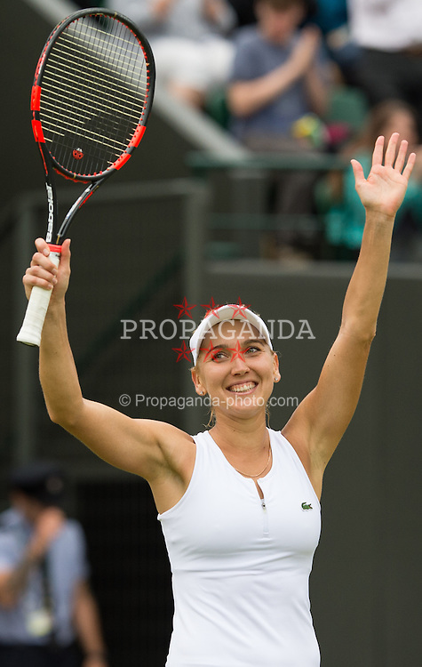 LONDON, ENGLAND - Monday, July 4, 2016:  Elena Vesnina (RUS) during the Ladies' Single 3rd Round match on day eight of the Wimbledon Lawn Tennis Championships at the All England Lawn Tennis and Croquet Club. (Pic by Kirsten Holst/Propaganda)