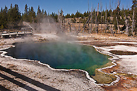 Abyss Pool is one of the deepest hot springs at West Thumb at 53 feet deep. Yellowstone National Park.  Wyoming, USA.