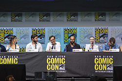July 22, 2017 - San Diego, US - Day three in Hall H. .West World Panel..The series-created, executive produced, and written by Jonathan Nolan and Lisa Joy .Cast panelists include Ben Barnes as Logan, Ingrid BolsÂ¿ Berdal as Armistice, Ed Harris as the Man in Black, Luke Hemsworth as Stubbs, James Marsden as Teddy, Thandie Newton as Maeve, Simon Quarterman as Lee Sizemore, Rodrigo Santoro as Hector, Angela Sarafyan as Clementine, Jimmi Simpson as William, Tessa Thompson as Charlotte Hale, Evan Rachel Wood as Dolores, Shannon Woodward as Elsie, and Jeffrey Wright as Bernard/Arnold..The moderated by internationally renowned vocal artist/beatboxer/musician/comedian Reggie Watts. (Credit Image: © Daren Fentiman via ZUMA Wire)