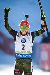 Laura Dahlmeier (GER) celebrating her victory during Women 10 km Pursuit at day 3 of IBU Biathlon World Cup 2015/16 Pokljuka, on December 19, 2015 in Rudno polje, Pokljuka, Slovenia. Photo by Ziga Zupan / Sportida