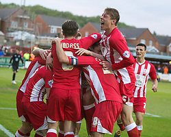 © Licensed to London News Pictures . 18/05/2016 . Accrington , UK . Accrington Stanley celebrate going 2-0 up . Accrington Stanley take on AFC Wimbledon at the Wham Stadium , in the 2nd leg of their League Two tie , the result from which will decide which team goes on to the final at Wimbledon . Photo credit : Joel Goodman/LNP