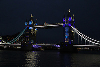 LONDON - JUNE 27: Tower Bridge and it's Giant Olympic rings were lit today to mark the countdown to the London 2012 Olympic Games. Tower Bridge, London, UK. June 27, 2012. (Photo by piQtured)
