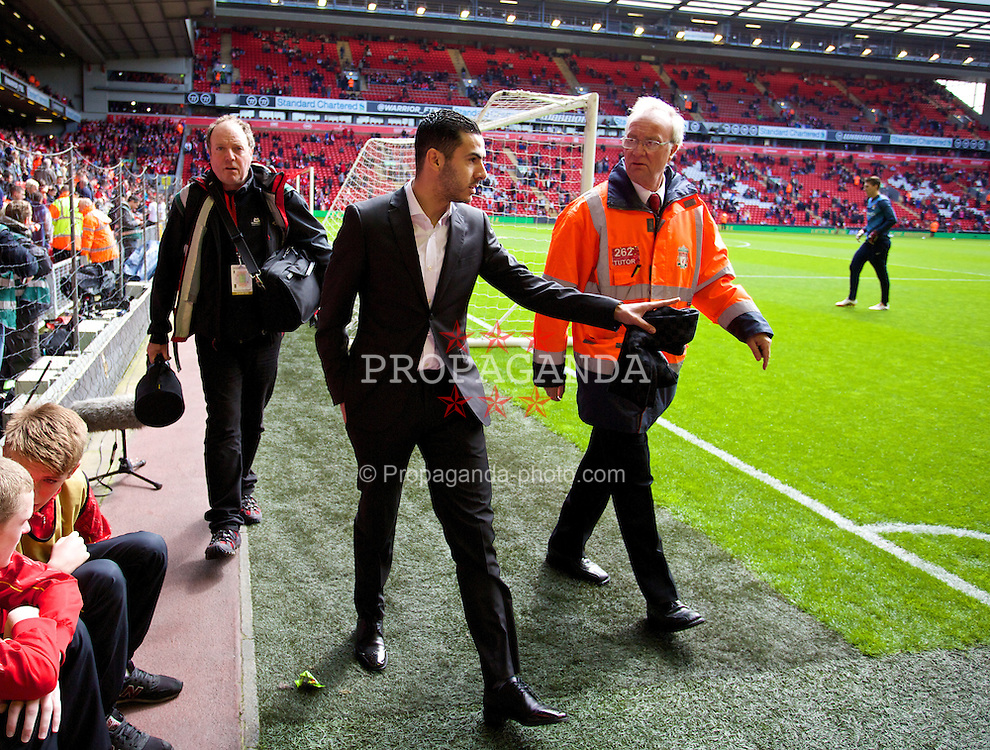 LIVERPOOL, ENGLAND - Sunday, April 13, 2014: Liverpool's Oussama Assaidi, on loan at Stoke City, before the Premiership match at Anfield. (Pic by David Rawcliffe/Propaganda)
