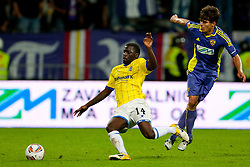 Morgaro Gomis of Birmingham City and Zoran Lesjak of NK Maribor at 2nd Round of Europe League football match between NK Maribor (Slovenia) and Birmingham City (England), on September 29, 2011, in Maribor, Slovenia.  (Photo by Urban Urbanc / Sportida)