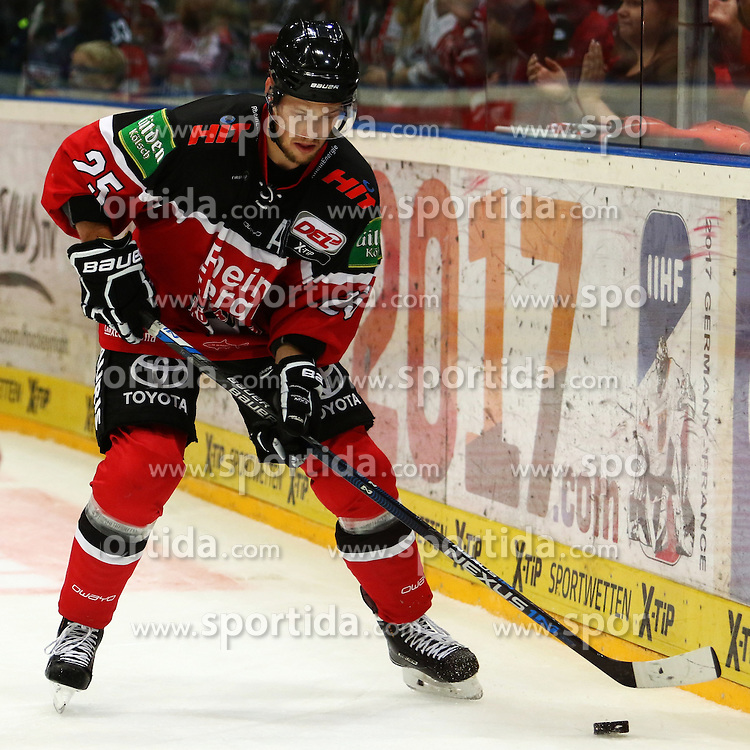 11.09.2015, Lanxess Arena, Koeln, GER, DEL, Koelner Haie vs EHC Red Bull Muenchen, 1. Runde, im Bild Patrick Hager (Koeln) am Puck // during the German DEL Icehockey League 1st round match between Koelner Haie and EHC Red Bull Munich at the Lanxess Arena in Koeln, Germany on 2015/09/11. EXPA Pictures &copy; 2015, PhotoCredit: EXPA/ Eibner-Pressefoto/ Weiss<br /> <br /> *****ATTENTION - OUT of GER*****