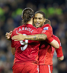 29.10.2011, The Hawthorns, West Bromwich, ENG, PL, West Bromwich Albion vs FC Liverpool, im Bild  Liverpool's Andy Carroll celebrates scoring the second goal against West Bromwich Albion with team-mate Glen Johnson during the Premiership match at The Hawthorns // during the Premier League match between West Bromwich Albion vs FC Liverpool, at the Hawthorns, West Bromwich, United Kingdom on 29/10/2011. EXPA Pictures © 2011, PhotoCredit: EXPA/ Propaganda Photo/ Vegard Grott +++++ ATTENTION - OUT OF ENGLAND/GBR+++++