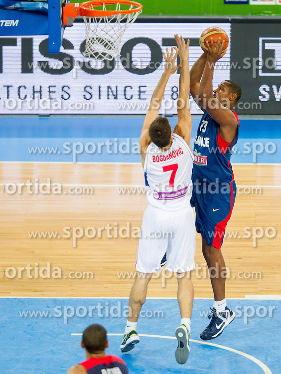 Bogdan Bogdanovic #7 of Serbia vs Boris Diaw #13 of France during basketball match between National teams of Serbia and France in Round 2 at Day 12 of Eurobasket 2013 on September 15, 2013 in Arena Stozice, Ljubljana, Slovenia. (Photo by Vid Ponikvar / Sportida.com)