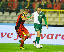 BRUSSELS, BELGIUM - Tuesday, October 15, 2013: Wales' Craig Bellamy in action against Belgium during the 2014 FIFA World Cup Brazil Qualifying Group A match at the Koning Boudewijnstadion. (Pic by David Rawcliffe/Propaganda)