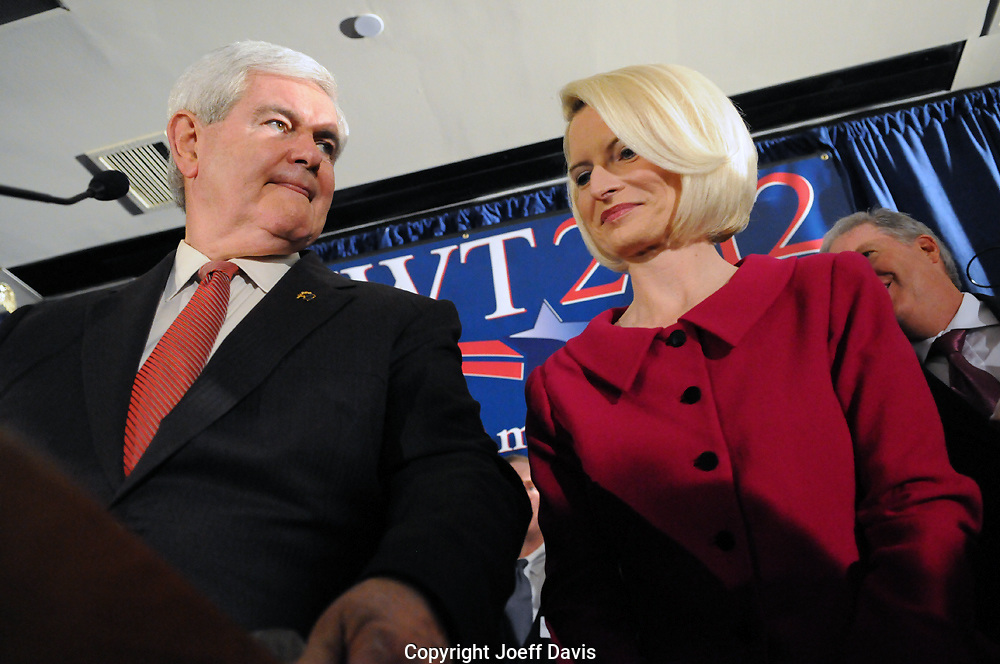 Former Speaker of the House and Georgia congressman Newt Gingrich won a huge victory last night in the South Carolina primary. Gingrich finished first in the third race of this presidential election season with 40% of the vote, Mitt Romney finished second with 28%. Rick Santorum finished with 17% and Ron Paul got 13%. Roughly 442,000 votes were cast.<br /> <br /> Gingrich celebrated with his supporters in the packed Palmetto State Ballroom at the Columbia, South Carolina Hilton. &quot;He is going to save America,&quot; said 78-year-old Barbara Marks while waiting for Gingrich to take the stage in a scorching hot ballroom. While waiting spporters loudly recited the Pledge of Allegiance and then loud chants of &quot;Hey, Hey Goodbye&quot; as Mitt Romney's consession speech appeared on the televisions in the ballroom.<br /> <br /> Gingrich entered the packed ballroom to the song &quot;American Ride&quot; and delivered a roughly 20 minute speech with his wife Callista Gingrich by his side. Throughout the speech Gingrich gestured with both of his arms revealing his left hand to be covered in ink.<br /> <br /> &quot;I articulate the deepest felt values of the American people,&quot; Gingrich said at the beginning of his speech while screams of &quot;Newt!&quot; interrupted him several times. &quot;If Barack Obama can get reelected,&quot; he said while boos echoed in the ballroom &quot;just think how radical he will be in a second term.&quot;