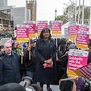 Diana Abbott MP addresses supporter Justice For Windrush - Scrap May's Racist Act Hosted by Stand Up To Racism during the debate in the Parliament on 30 April 2018 at Parliament Square, London, UK.