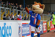 Carlisle United Mascot Olga the Fox waves to the fans during the Sky Bet League 2 match between Carlisle United and Stevenage at Brunton Park, Carlisle, England on 20 February 2016. Photo by Craig McAllister.