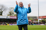 York City manager Gary Mills claps the supporters after his team are relegated during the Vanarama National League match between York City and Forest Green Rovers at Bootham Crescent, York, England on 29 April 2017. Photo by Shane Healey.