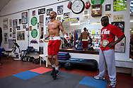 Picture by Alex Broadway/Focus Images Ltd +44 7905 628183<br /> 29/05/2013<br /> Leon McKenzie workout with his father, Clinton McKenzie at Duke McKenzie Fitness Centre, Crystal Palace, London.