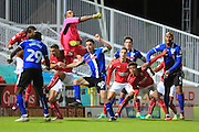 Lawrence Vigouroux punches clear during the EFL Sky Bet League 1 match between Swindon Town and Rochdale at the County Ground, Swindon, England on 18 October 2016. Photo by Daniel Youngs.