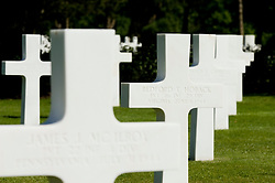 The grave stone of Bedford Hoback in the Normandy American Cemetery and Memorial at Saint Laurent, near Colleville-sur-Mer, Normandy, France. The site covers 172.5 acres and contains 9,388 graves that honor American troops, servicemen and women, who died in Europe during World War II.<br /> Bedford Hoback was from Bedford, Virginia and served in Company A 116th Regiment, 29th Division. His brother Raymond was killed on D-Day as well. In all Bedford lost 22 young men in the Normandy campaign.