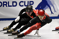 February 9, 2019 - Torino, Italia - Foto LaPresse/Nicolò Campo .9/02/2019 Torino (Italia) .Sport.ISU World Cup Short Track Torino - Men 500 meters Semifinals .Nella foto: Samuel Girard (d), Shaolin Sander Liu..Photo LaPresse/Nicolò Campo .February 9, 2019 Turin (Italy) .Sport.ISU World Cup Short Track Turin - Men 500 meters Semifinals.In the picture: Samuel Girard (R), Shaolin Sander Liu (Credit Image: © Nicolò Campo/Lapresse via ZUMA Press)